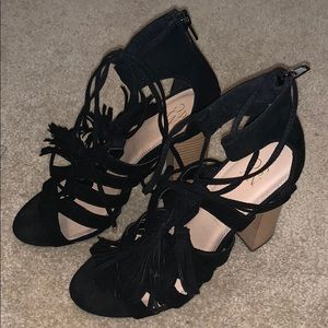 Tassel lace up heels